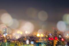 Ночная жизнь города, предпосылка bokeh нерезкости Стоковая Фотография