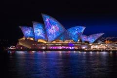 Ночная жизнь оперного театра Сиднея яркая Стоковые Изображения RF