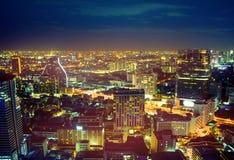 Ночная жизнь Beuatiful - европейский городской пейзаж Стоковое Изображение