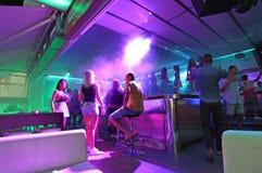 Ночная жизнь Faliraki, бар, диско Остров Родос, Греция Стоковое Фото