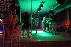 Ночная жизнь Faliraki, бар, диско Остров Родос, Греция Стоковая Фотография RF