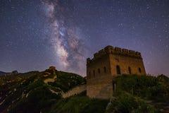 Ночное небо Великой Китайской Стены Стоковая Фотография RF