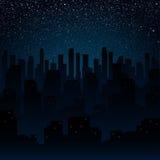 ночное небо звёздное Силуэт города 10 eps Стоковые Изображения