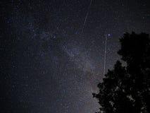Ночное небо играет главные роли созвездие cygnus метеоров perseids Стоковое Изображение