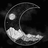 Ночное небо и ландшафт гор в форме серповидной луны E Приглашение Татуировка иллюстрация вектора