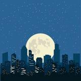 Ночное небо с желтой луной над городом, иллюстрацией Стоковые Фотографии RF