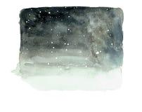 Ночное небо с зачатием звезды и снега понижаясь Стоковое Изображение