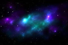 Ночное небо с звездами и nebula Стоковые Изображения RF