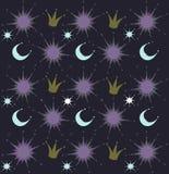 Ночное небо с звездами, солнцем, кроной и луной текст космоса экземпляра предпосылки младенца также вектор иллюстрации притяжки c Стоковое фото RF