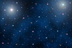 Ночное небо с звездами Стоковые Изображения