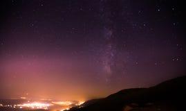 Ночное небо с млечным путем Стоковое Изображение RF