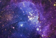 Ночное небо с предпосылкой межзвёздного облака звезд облаков Элементы изображения поставленные NASA Стоковое фото RF