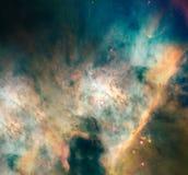 Ночное небо с предпосылкой межзвёздного облака звезд облаков Элементы изображения поставленные NASA Стоковое Изображение