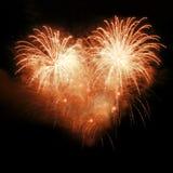 ночное небо феиэрверков Стоковые Фотографии RF