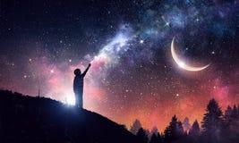 Ночное небо ясности Stary Мультимедиа стоковое фото