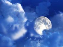 Ночное небо 7 луны Стоковые Изображения