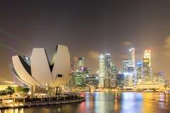 Ночной взгляд залива Сингапура Марины Стоковое фото RF
