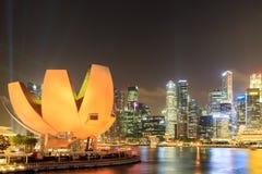 Ночной взгляд залива Сингапура Марины Стоковые Изображения RF