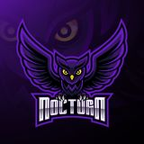 Ночной дизайн логотипа талисмана сыча птицы бесплатная иллюстрация
