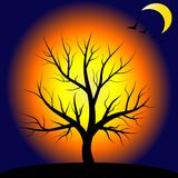 Ночь и дерево, волшебный ландшафт иллюстрация halloween стоковое изображение