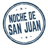 Ночь St. John на знаке или печати Noche de Сан-Хуана испанского языка иллюстрация штока