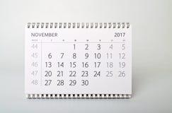 ноябрь Календарь года две тысячи 17 Стоковые Изображения RF