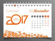 Ноябрь 2017 Календарь 2017 иллюстрация штока