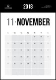 Ноябрь 2018 Минималистский календарь стены Стоковые Изображения RF