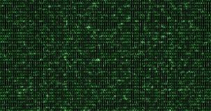 Нул и одного зеленого бинарного цифрового кода, при предпосылка частей головоломки падая вниз на предпосылку голубого экрана ключ иллюстрация штока