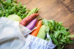 Нул отходов использует более менее пластиковое не говорит никакие концепцию полиэтиленового пакета/свежие овощи органические в су стоковые фотографии rf