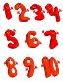 нумерует красный цвет Иллюстрация вектора