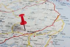 Нуоро прикололо на карте Италии Стоковое Фото