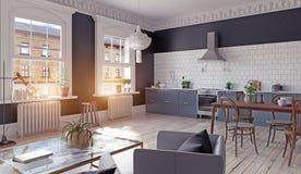 нутряная кухня самомоднейшая Стоковое фото RF