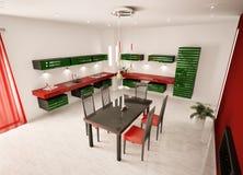 нутряная кухня 3d самомоднейшая представляет взгляд сверху Стоковые Изображения