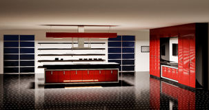 нутряная кухня 3d самомоднейшая представляет Стоковые Фото