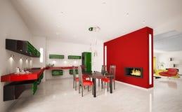 нутряная кухня 3d самомоднейшая представляет Стоковая Фотография