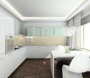 нутряная кухня 3d самомоднейшая представляет Стоковые Изображения