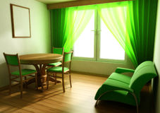 нутряная светлая таблица софы тонизирует окно Стоковые Фотографии RF