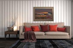 нутряная софа иллюстрация 3d Стоковая Фотография
