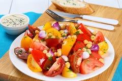 Нуты, кусок томатов, салат красного лука Стоковая Фотография RF