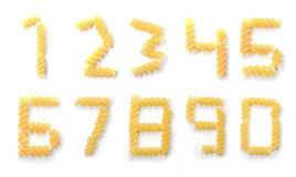 Нул до 9 номеров макаронных изделий Стоковая Фотография