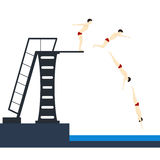Нырять в бассейн фазирует скакать вектор Стоковое Изображение