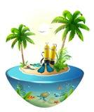 Нырять в тропическом море с острова рая Пристаньте каникулы к берегу, пальму, ныряя маску, бак с кислородом, ребро, подводный мир бесплатная иллюстрация
