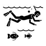Ныряющ в море с рыбами - скубой - snorkeling значок, иллюстрация вектора иллюстрация вектора