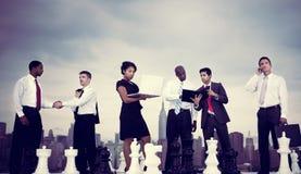 Нью-Йорка связи бизнесмены концепции встречи Стоковые Изображения RF