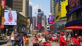 Нью-Йорк большинств известное туристское Таймс площадь 4k США летнего дня места акции видеоматериалы
