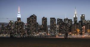 Нью-Йорк - взгляд ночи Манхаттана центра города Стоковая Фотография RF