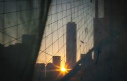 Нью-Йорк - городской взгляд захода солнца Манхаттана Стоковые Фото