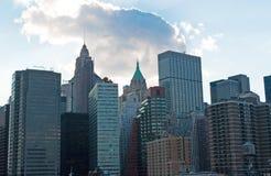 Нью-Йорк: Городской горизонт и козырь строя 16-ого сентября 2014 Стоковые Фото