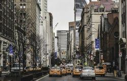 Нью-Йорк - кабины & взгляд улицы Стоковая Фотография RF